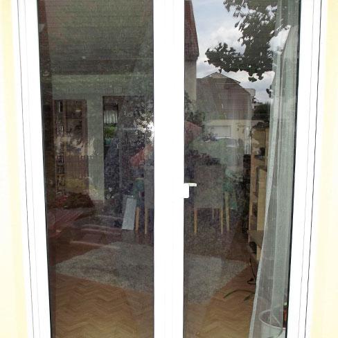 Vogelschutz - Terassentür / Ansicht von außen nach innen